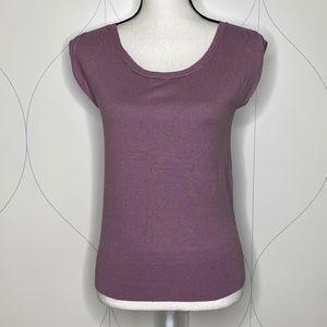 LOFT ruched shoulder sweater purple XS